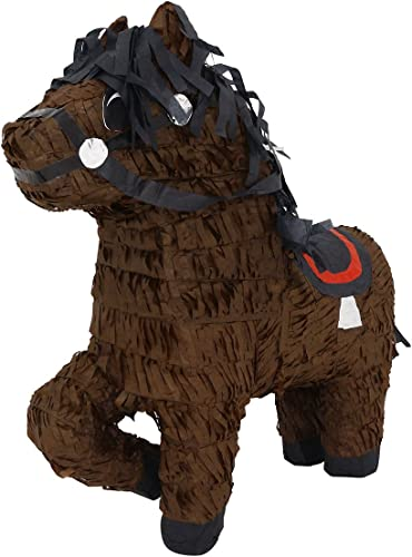 braun Horse with Saddle and Folded Leg Pinata - Mexican Piñata - Handmade in Mexico