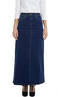 ESTEEZ Women's Denim Maxi Skirt Long A-Line Stretchy Jean Georgia