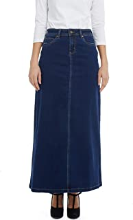Esteez Women's Denim Maxi Skirt- A-Line Stretch Jean - Georgia