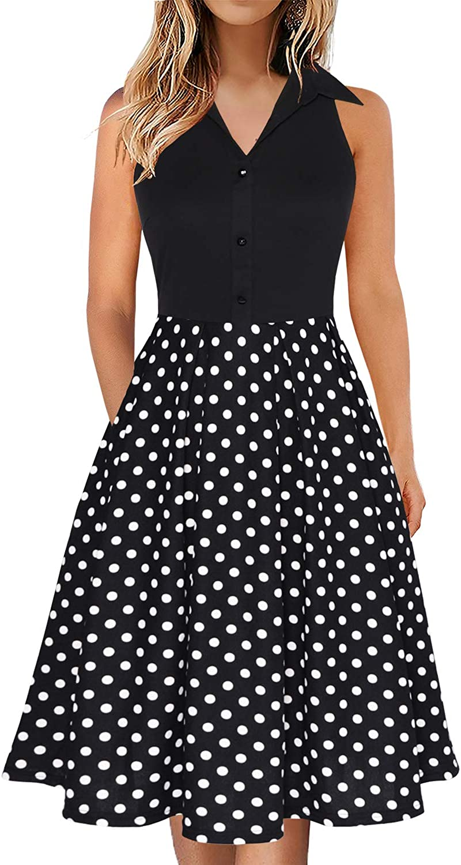 Fantaist Women's Sleeveless Shirt Collared Pocket Casual Party Office Work A-Line Dress
