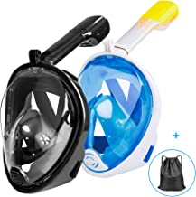 Ezire Full Face Snorkel Mask, 2-Pack Seaview 180° Panoramic Viewing Snorkeling and Diving Mask with Action Camera Mount, Easy Breath Anti-Fog Anti-Leak Snorkeling Design for Adults (L/XL)