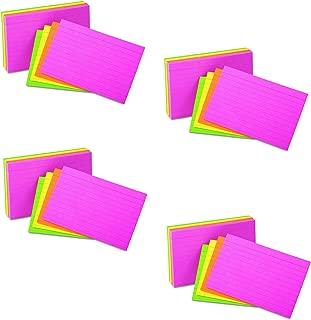 通用型 47257 横格霓虹光索引卡,5 x 8,混色(100 个装)