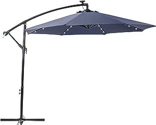 Sun-Ray 811046 10' Round 8-Rib Offset Cantilever Solar Patio Umbrella, 24 LED Lights, Crank with Adjustable Tilt, Cross Base, Aluminum Frame, Navy