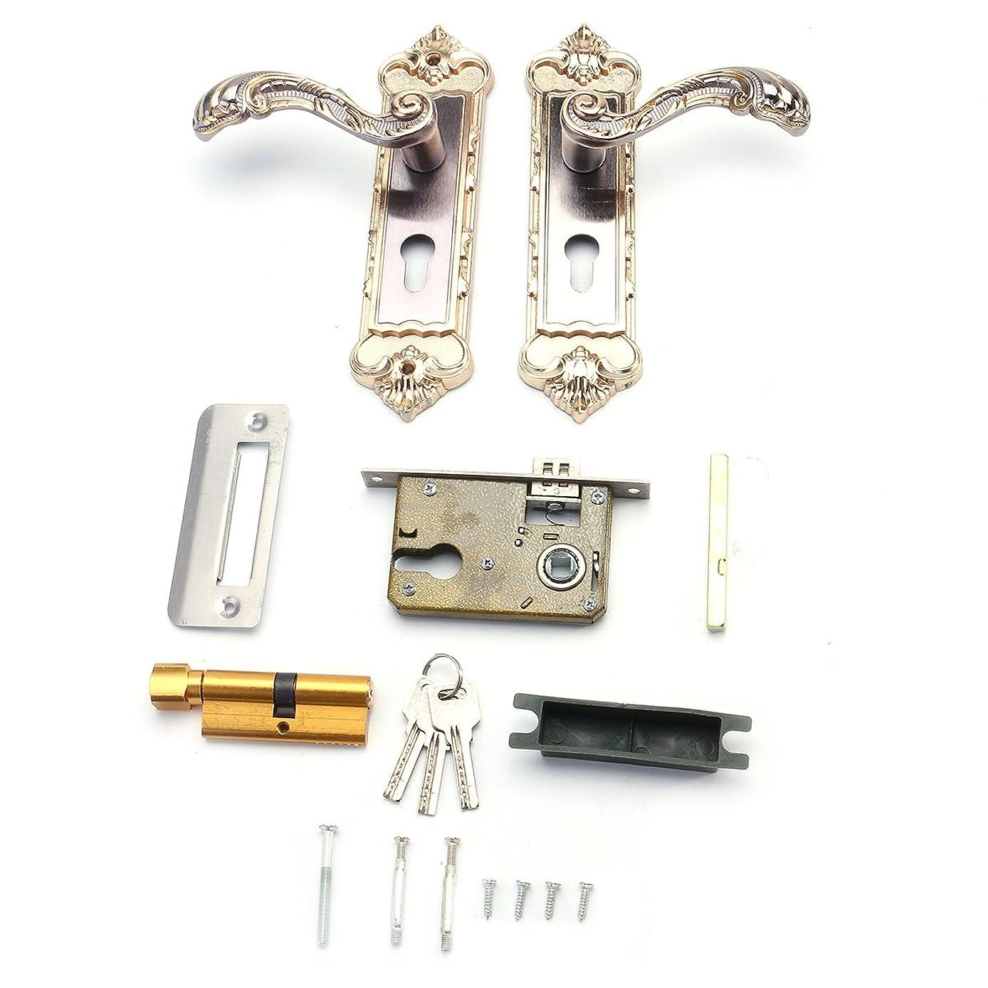RISHIL WORLD Mechanical Interior Door Handle Cylinder Lock Lever Latch Home Security Set