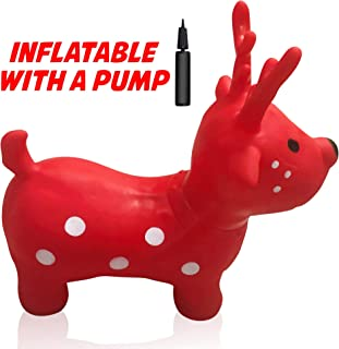 Hoovy Inflatable Bouncy Horse with Pump   Bouncing White Unicorn Ride on Toy for Kids   Unlimited Animal Riding Fun & Ideal Jumping Hopper Gift for Toddlers & Children   Portable & Travel Friendly