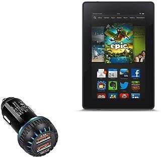 Carregador de carro Kindle Fire (1ª geração 2011), BoxWave [Carregador duplo QC3.0] Carregador duplo para carregamento ráp...