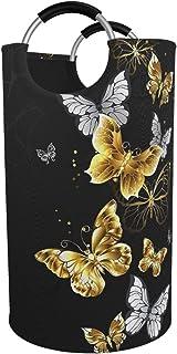 ZCHW Paniers à Linge Or Papillons Blancs Panier à Linge Pliable imprimé Noir, paniers de Rangement étanche avec poignées 82L
