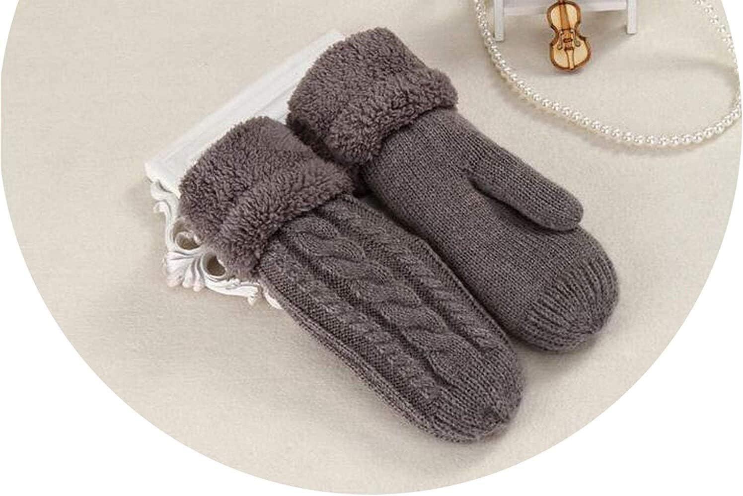 Warm Gloves Female Knitted Twist Flowers Mitten Winter Women Wool Plus Cashmere Velvet Thickening Warm Full Finger Glove Guantes (Color : Dark Gray, Size : Oneszie)