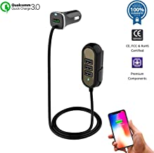 Multi-Port QC3.0 USB Car Charger Adapter compatible for iPhone 11/XS/Max/XR/X/8/7/Plus, iPad Pro/Air/mini, Samsung Galaxy S10/10+/9/8/7/Note, LG, Motorola | Cigarette Lighter Charge (Black) (Black)
