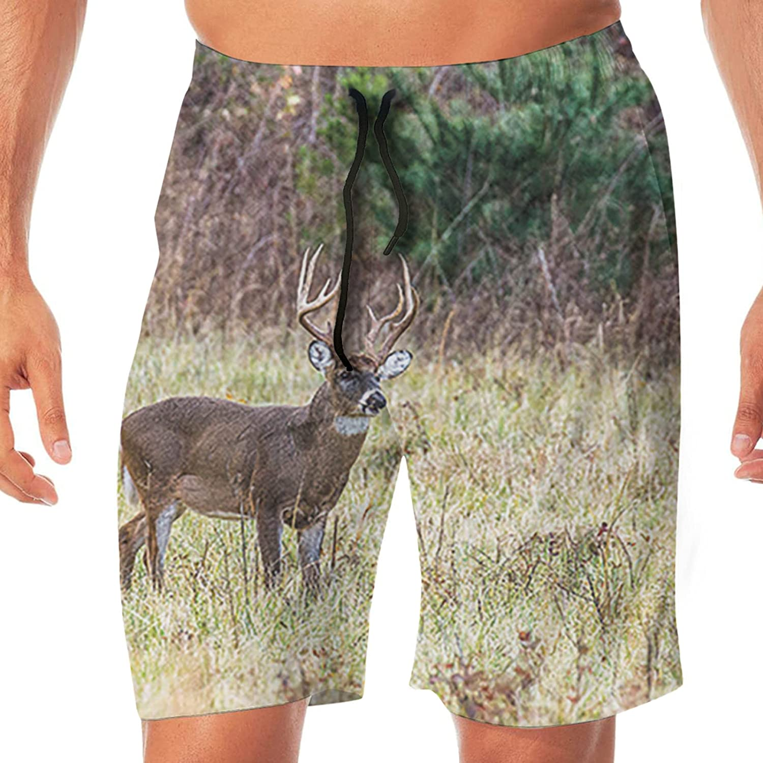 PEKIVIDE Mens 3D Printed Whitetail Drop A Lonely Deer in Woods Swim Trunks Quick Dry Summer Surf Board Shorts Swimwear Pants