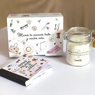 Happymots - Pack Regalo Mamá Te Lo Mereces Todo y Mucho Más. Kit Regalo Original para Madres - Vela Aromática + Talonario...