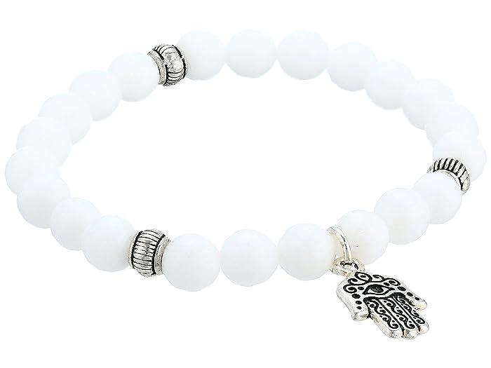 Dee Berkley  Quartz Hamsa Beaded Bracelet (White) Bracelet