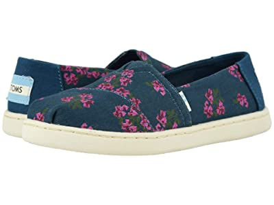 TOMS Kids Alpargata (Little Kid/Big Kid) (Majolica Blue Bougainvillea Print) Girl