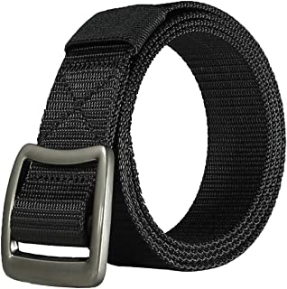 Men's Canvas Web Belt Metal Buckle for Men Solid Color Military Tactical Style Belts