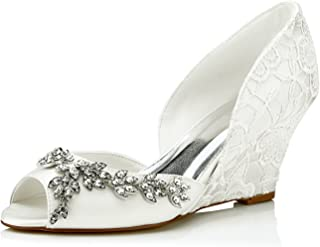 JIA JIA 1217518 Women's Bridal Shoes Peep Toe Wedge Heel Satin Pumps Rhinestone Wedding Shoes