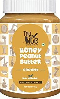 Trubite Natural Honey Peanut Butter (Creamy) (1kg) | 27g Protein | No Added Sugar | No Added Preservatives | Non GMO | Glu...