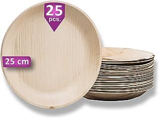 Waipur Assiette Palmier Bio - 25 Assiettes Rondes Ø 25 cm – Vaisselle Jetable de Qualité Supérieure - Stable, Naturelle et...