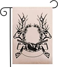 Creative Home Garden Flag Hunting Decor Elk Heads Oak Wrath and Crossed Guns with Label Huntsman Tattoo Art Design Garden Flag Waterproof for Party Holiday Home Garden Decor, Polyester 28 x 40 inch