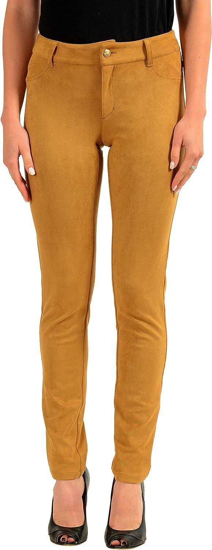 Just Cavalli Women's Brown Faux Suede Skinny Casual Pants US 4 IT 40