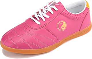 Tai Chi Shoes Martial Wudang Kung Fu Shoes Shaolin Qi Gong Wing Chun Shoes with Classic Rubber Oxford Sole for Men And Women,Pink,42