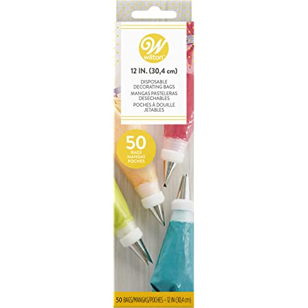 Wilton 12-Inch Disposable Cake Decorating Pastry Bags, 50-Count