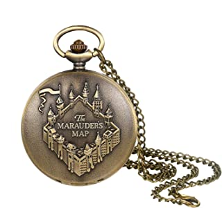 Men's Pocket Watch Vintage Bronze Steampunk Castle Decorative Case Arabic Numeral Dial Quartz Analog Pocket Watch with Chain for Halloween Costume Party Christmas