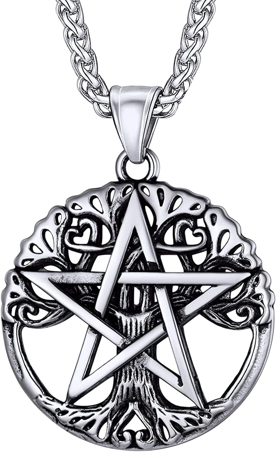 U7 Pentagram 5 ☆ very popular Necklace Selling Stainless Steel Ancient Chain Sym Talisman