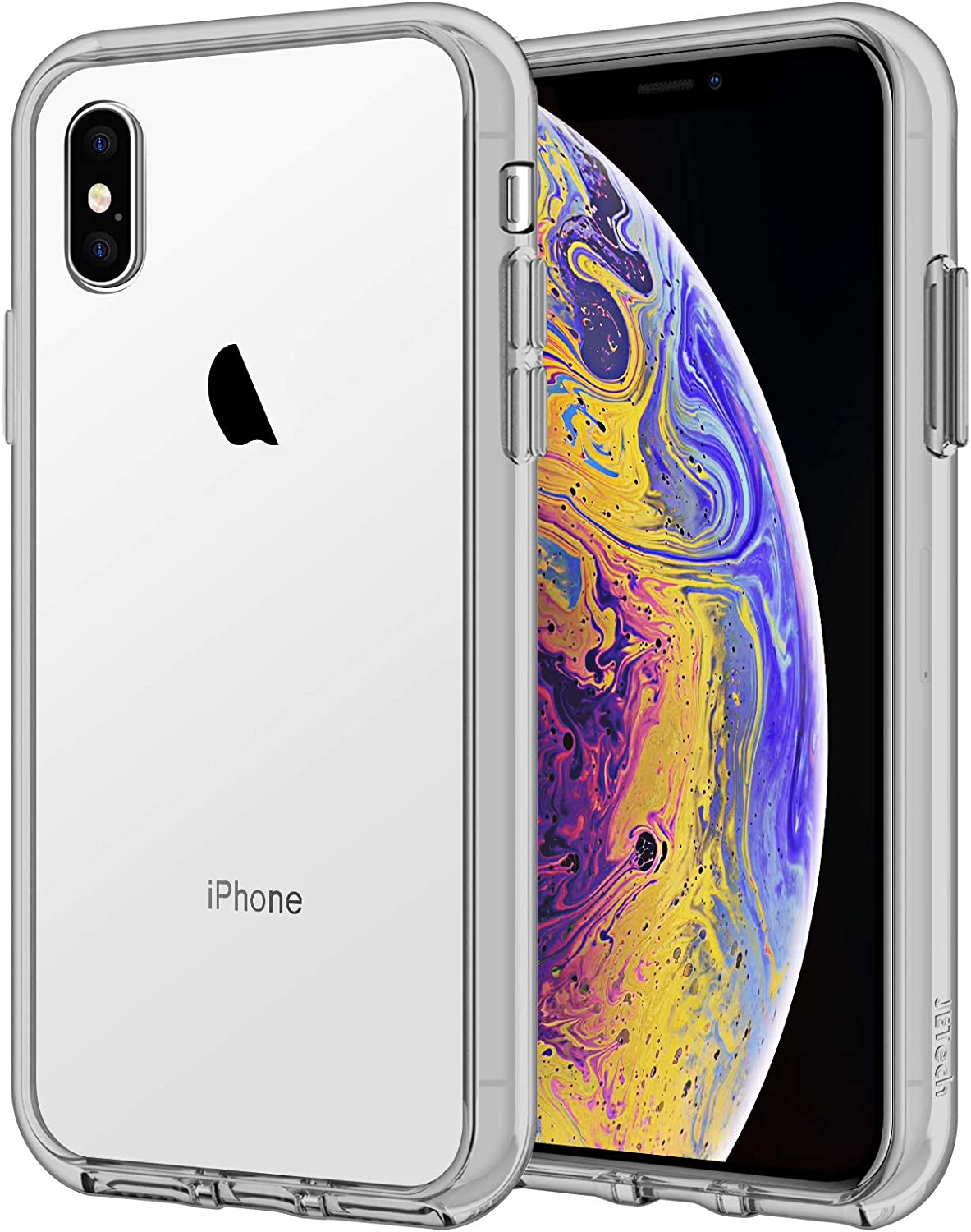 JETech Case for iPhone Xs and iPhone X, Shock-Absorption Bumper Cover (Grey)