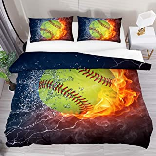 Josid Fire and Ice Softball Comforter Duvet Cover with Zipper Closure,Soft Lightweight Microfiber 3 Piece Bedding Set with Pillow Shams Full Size