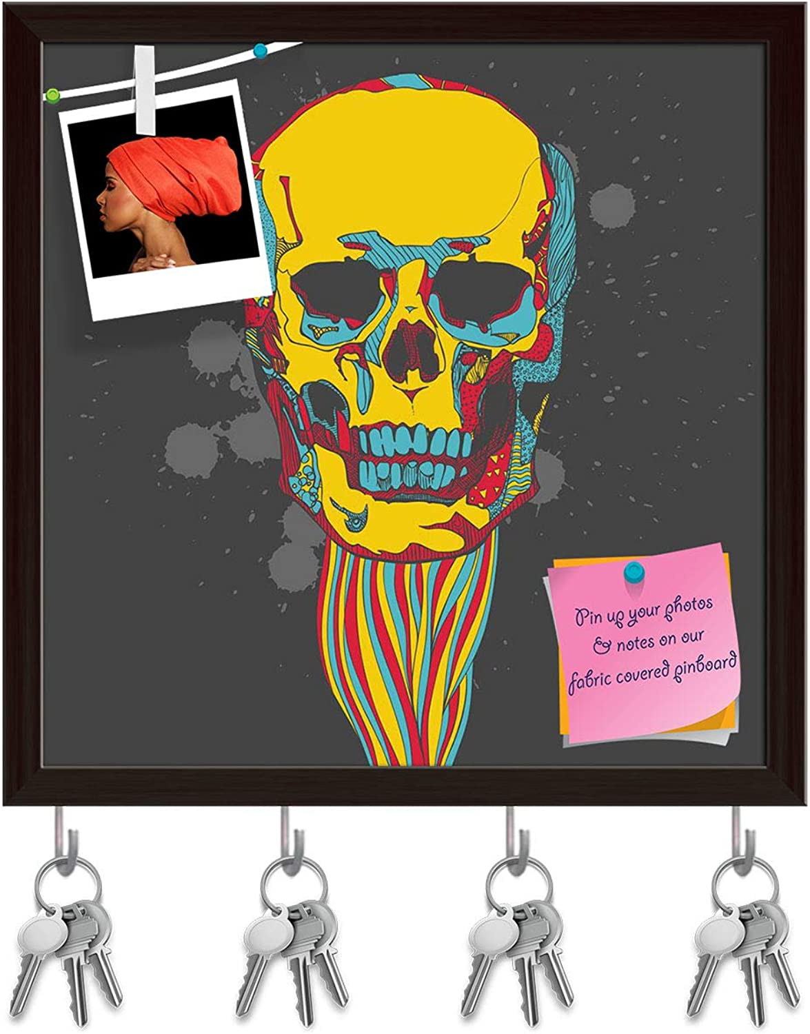 Artzfolio Day of The Dead colorful Skull Key Holder Hooks   Notice Pin Board   Dark Brown Frame 20 X 20Inch