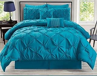 KingLinen 8 Piece Rochelle Pinched Pleat Teal Comforter Set Queen