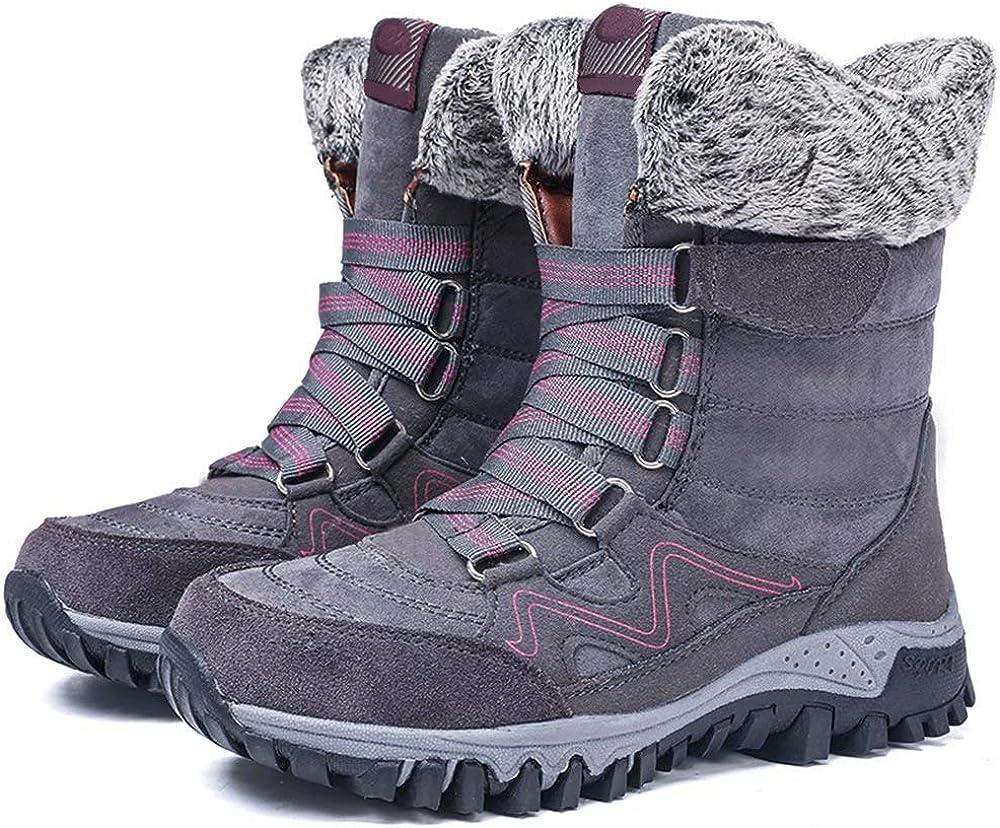 Greatonu Womens Faux Fur Lined Warm Winter Snow Boots Waterproof Hiking Boot