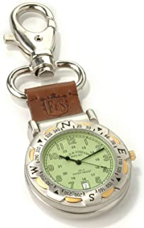 Field & Stream Men's Green Dial Spring Clip Multi-Function Outdoors Compass Leather Strap Pocket Watch