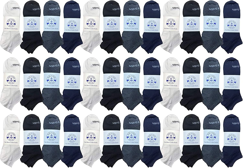 24 Pairs of Low Cut Ankle Socks for Big Kids, Boys Girls, Bulk Pack Sock Size 6-8