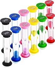 Dsmile Sand Timer,Plastic Hourglass Timer,Colorful Sandglass Hourglass Sand Clock Timer 30sec / 1min / 2mins / 3mins / 5mins / 10mins (12pcs)