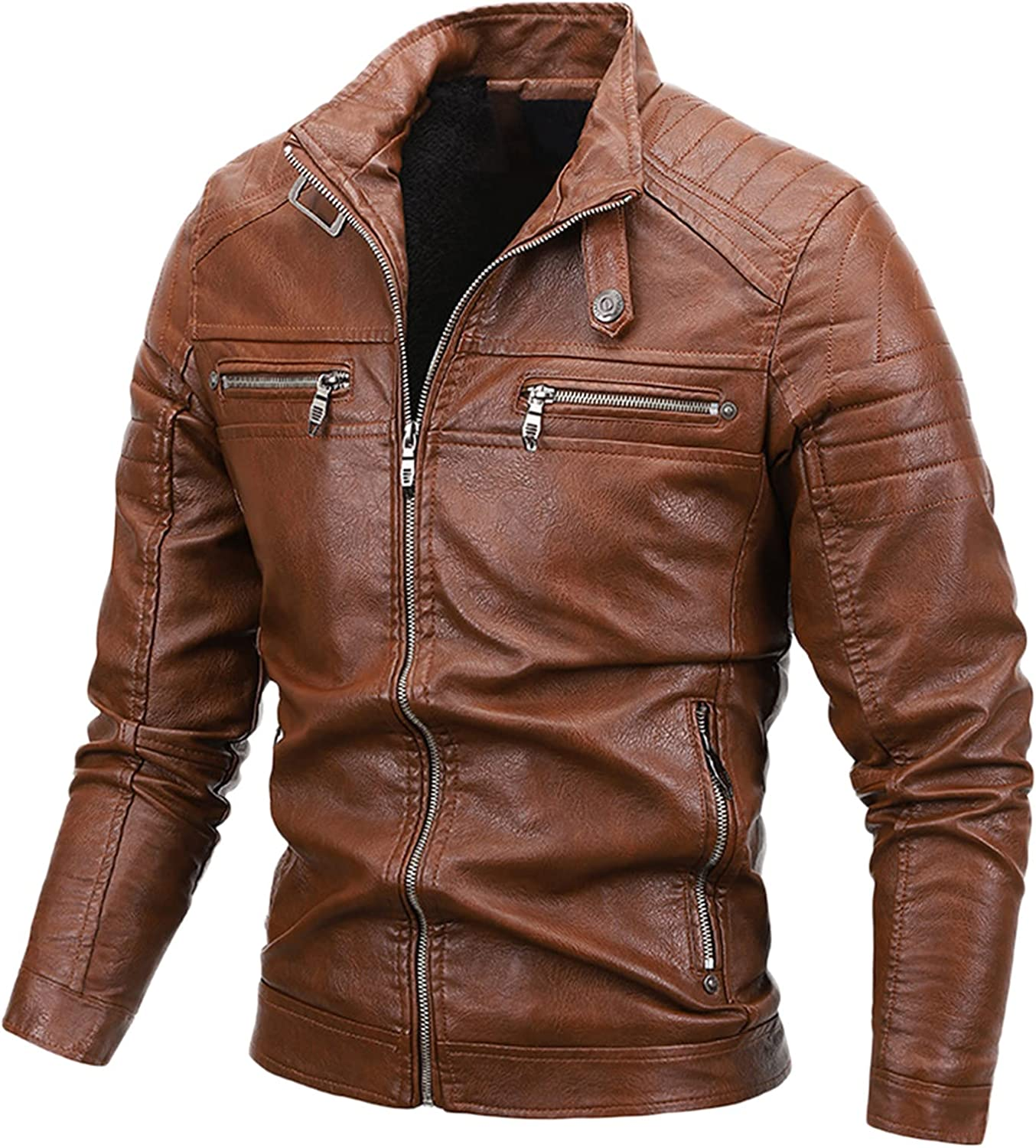 Men's Stand Collar PU Faux Leather Jacket 6 Pockets Motorcycle Bomber Fall Winter Jacket Outwear
