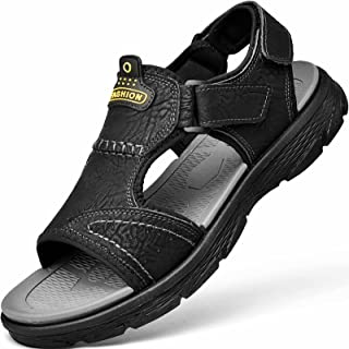 GILKUO Men's Spring Summer Velcro Open Leather Sandals Black Size: 7 UK