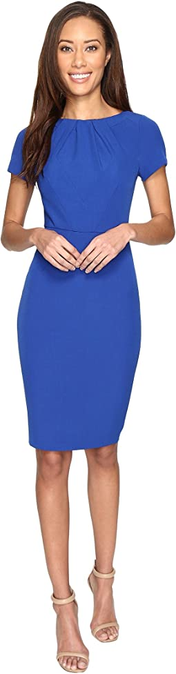 Stretch Crepe Sheath Dress with Seamed and Tucked Bodice