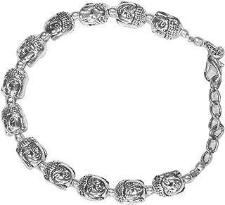 AyA Fashion Silver Oxidised German Silver Buddha Bracelet for Women
