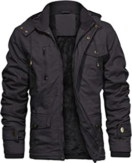 CHEXPEL Men`s Thick Winter Jackets with Hood Fleece Lining Cotton Military Jackets Work Jackets with Cargo Pockets