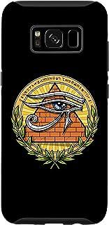Galaxy S8 エジプトのピラミッドホルスの目シンボルアンク十字象形文字古代エジプト神話 スマホケース