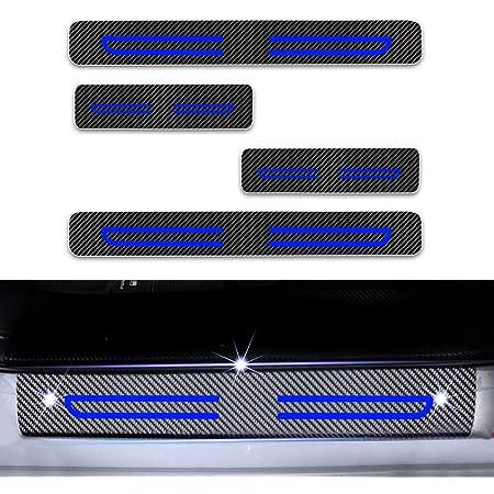 4d Carbon Einstiegsleisten Folie Lackschutzfolie Selbstklebend Lackschutz Aufkleber Für Citigo Kodiaq Fabia Rapid Octavia Yeti Superb Blau 4 Stück Auto