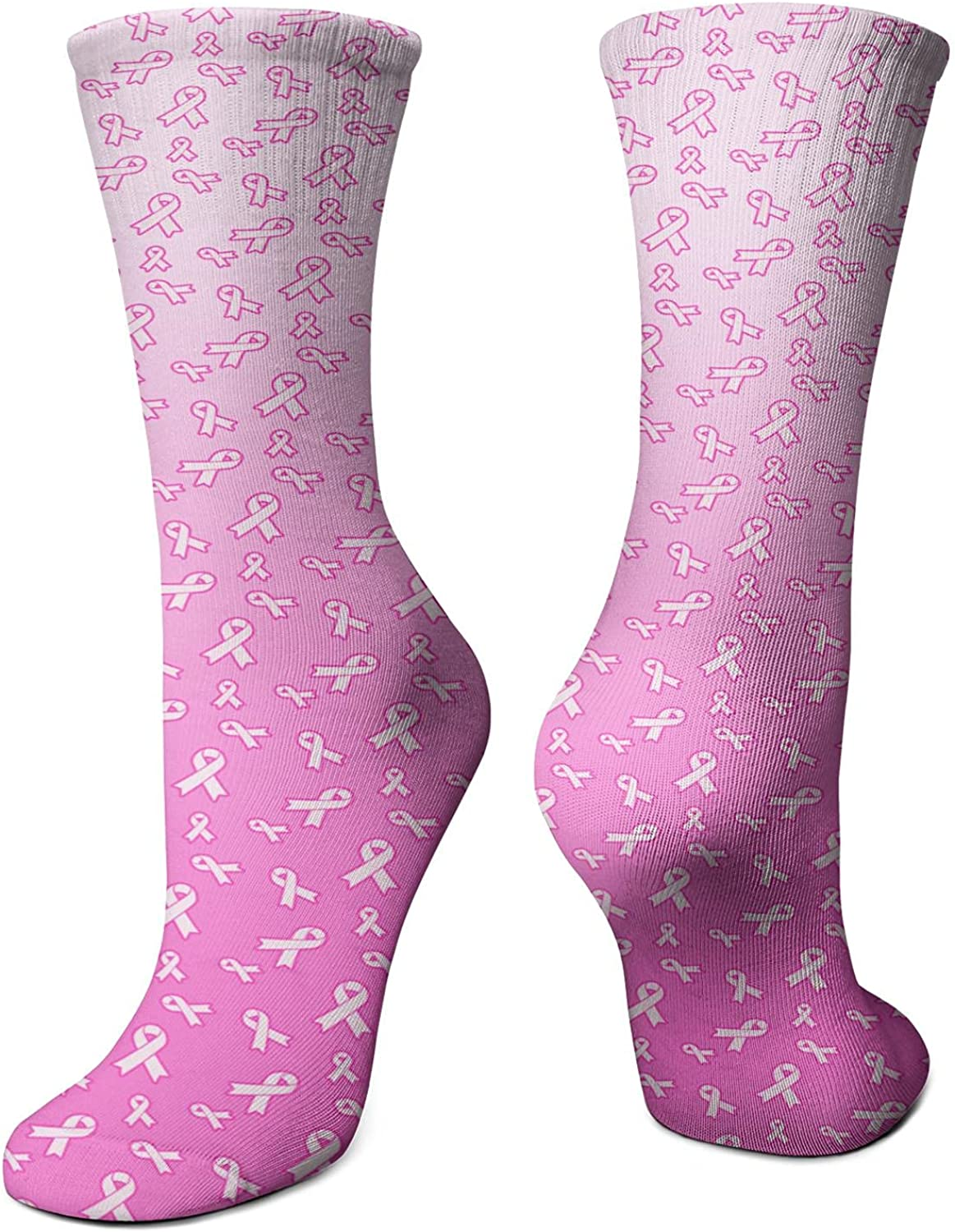 Cold Weather Breast Cancer Ribbon Flag Womens No Show Socks Compression Crew Dress Socks Funny Ankle Socks