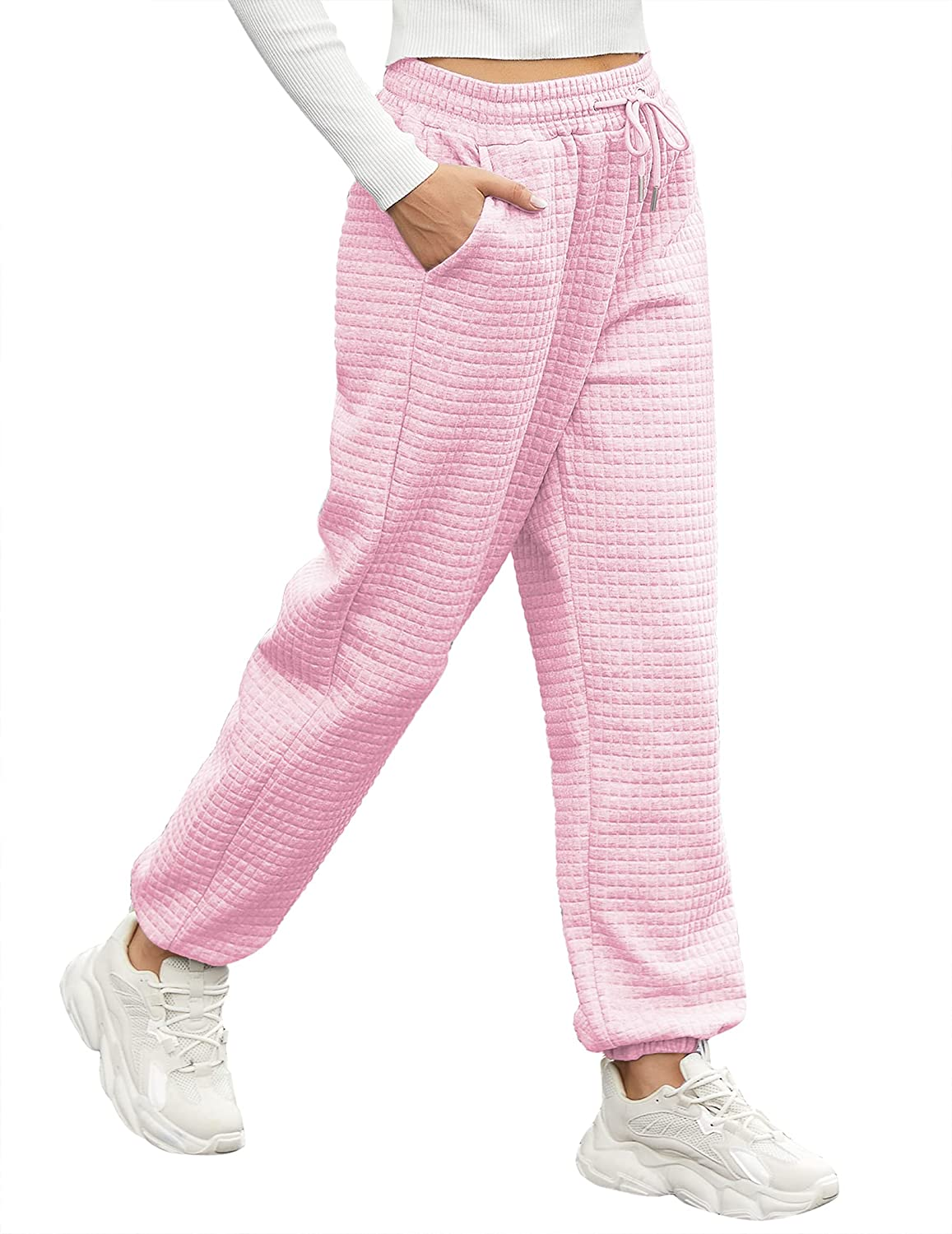 Hotouch Sweatpants for Women with Pockets High Waist Baggy Jogger Pants Cinch Bottom Sweats Pants(S-XXL)