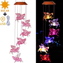 xxschy USB & Solar Fly Pigs Wind Chimes Outdoor - Solar Powered and USB Charging Waterproof LED Changing Light Color Mobile Romantic Wind-Bell for Home, Party, Festival Decor, Night Garden Decoration