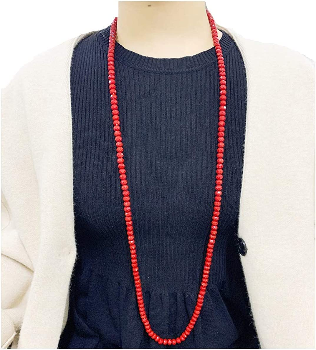 handmade long necklaces for women and girls Colorful crystal beaded cardigan necklace