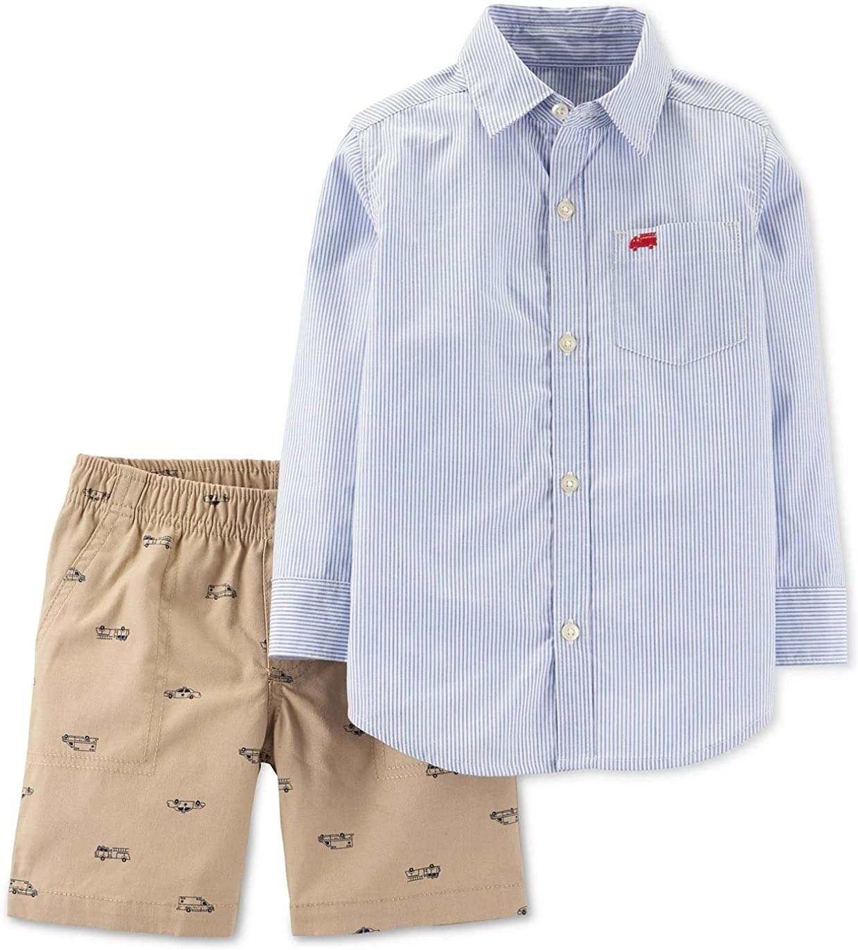 Carter's Baby Boys 2-Piece Striped Button-Front Top & Hero Vehicle Short Set