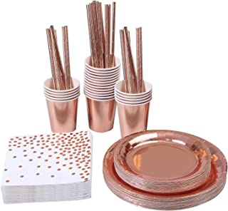 Aneco 146 Pieces Rose Gold Party Supplies Party Tableware Foil Paper Plates Napkins Cups Straws for Weddings, Anniversary, Birthday for 24 Guests