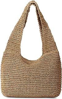 JOSEKO Women's Crossbody Bags, Straw Portable Small Round Crossbody Bag Tote Bag (11.81'' x 11.81''(LxH), Brown)