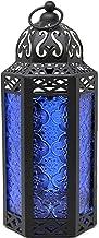 Decorative Candle Lantern for Bedroom Decor, Medium, Cobalt